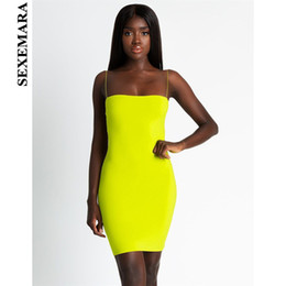 Wholesale Boofeenaa Sexy Bandage Mini Neon Dress Women Tube Bodycon Dresses Party Night Club Wear New Trends Summer Robe Femme C66h86 Q190516
