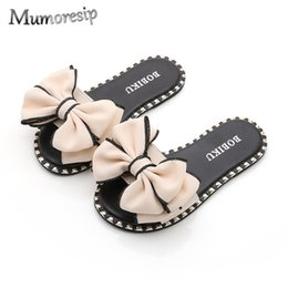Kids Slide Sandals Australia - Mumoresip Hot Summer Slippers For Kids Girl Sandals Slides With Big Bow-knot Mom-daughter Family Matching Shoes Q190601