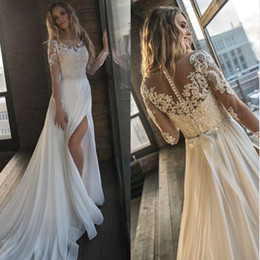 dropped wedding dresses NZ - 2019 Cheap Sexy Beach Wedding Dresses Bohemian Beach Sheer Neck High Side Split Chiffon Lace Applique Wedding Dress Bridal Gowns