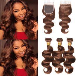 Real Peruvian Human Hair Closures Australia - Brazilian Hair #4 Brown Body Wave Human Hair Bundles With 4x4 Free Part Closure,8A Real Virgin Hair Bundles with Lace Closure