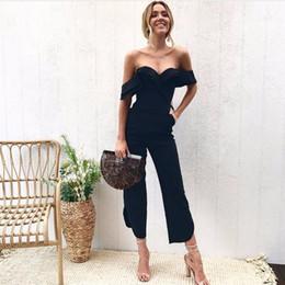 $enCountryForm.capitalKeyWord NZ - New Ruffles Strap White Black Jumpsuit Sexy Off Shoulder Split Wide Leg Rompers For Women Slim Waist Party Overalls