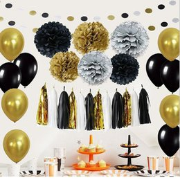 $enCountryForm.capitalKeyWord Australia - 46pcs Black Gold Latex Balloons Paper Flowers Poms Poms Tissue Tassel Garland Paper Diy For Birthday Wedding Party Decorations T190709