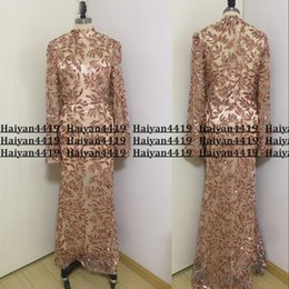 Sexy Real Image New Bling Sequined Lace Rose Gold Mermaid Prom Dresses Sequins High Neck Illusion Poet Long Sleeves Formal Evening Gowns