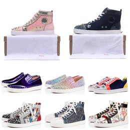 Designer silver weDDing shoes online shopping - Designer Red Bottom Casual Shoes High Low Cut Suede Spike Luxury Shoes Mens Women Party Wedding Crystal Leather Sport Sneakers BOX DUST BAG