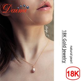 $enCountryForm.capitalKeyWord Australia - Daimi 18k Yellow Gold Pendant About 9mm Freshwater Pearl Pendant Necklace Fine Jewelry J190718