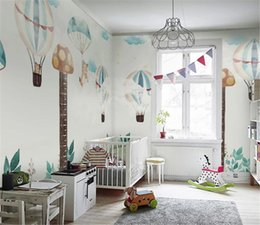 Balloon wall stickers online shopping - Wallpaper Promotion Nordic hand painted children s room height sticker hot air balloon bedroom cartoon background wall painting