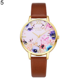$enCountryForm.capitalKeyWord UK - 2019 Women's Elegant Colorful Flowers Dial Faux Leather Strap Quartz Wrist Watch