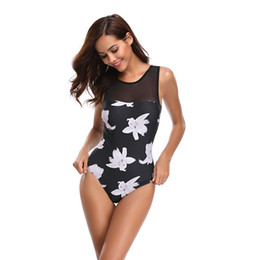 2329790814c18 DHL Free 2019 New One Piece Swimsuit Women Plus Size Swimwear Retro Vintage Bathing  Suits Beachwear Lace Print Swim Wear Monokini