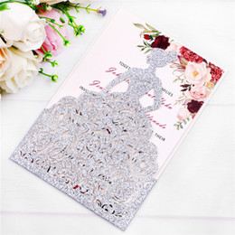 5ed48553ec5ab6 Wholesale 2019 New Silver Glitter Laser Cut Pretty Princess Invitations  Cards For Birthday Cards Sweet Quinceanera