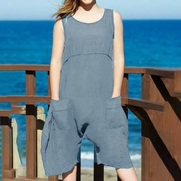Hooded Jumpsuit Green Australia - Women Fashion O-neck Casual Camisole Solid High Waist Summer Short Jumpsuit Casual Streetwear Jumpsuit Summer Style Overalls T3190605