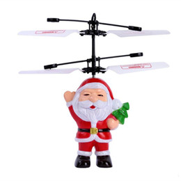 Top Quality Santa Claus Electric Infrared Sensor Flying Ball Father Christmas Inductive Aircraft Helicopter Flying Toys Christmas Gift DHL on Sale