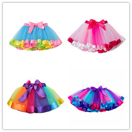 Tutu Polyester Australia - Children Tutu Skirts Girls Summer Mini Ball Gown Baby Girls Clothes Kid Rainbow Skirt Bowknot Dancing Performance Party Outfits