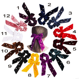 $enCountryForm.capitalKeyWord Australia - Velvet Scrunchie Women Girls Elastic Hair Rubber Bands pearl Bows Accessories Gum For Women Tie Hair Ring Rope Ponytail Holder 50pcs F507A