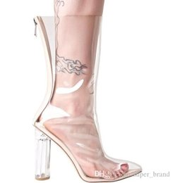 high pump sex Australia - spring autum fashion women pump transparent sex hight heel sladies thick heel boots pointed open toe with zipper mjuer ankle boots