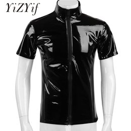 leather collar shirt Australia - YiZYiF Black Shiny t shirt Unisex Metallic Hipster PVC Leather tshirt Sexy Stand Collar Short Sleeves Front Zip Up T-shirt Tops