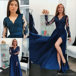 $enCountryForm.capitalKeyWord NZ - Arabic Royal Blue Prom Dresses V Neck Sheer Long Sleeves Beaded Lace Applique Side Split Ankle Length Chiffon Formal Prom Evening Gowns