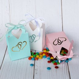 $enCountryForm.capitalKeyWord Australia - 5pcs Mini Heart Paper Bag Hot Stamping Silver Heart Candy Cookie Bag Gift Box Bag Pink Blue Wedding Party Decoration With Ribbon