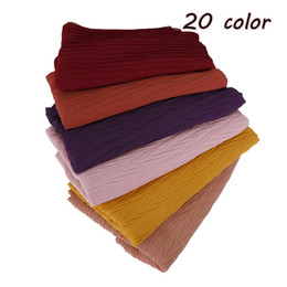 China Women pleated bubble chiffon scarf hijab wrap solid color pashmina shawls headband muslim hijabs scarves hot selling 2019 suppliers