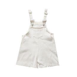 8f97e91be24a 2019 New Kids denim suspender shorts autumn girls double pocket jean shorts  children cowboy jumpsuits kids out wear overalls F5039