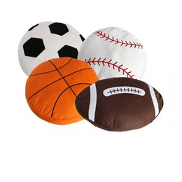 Football pillows online shopping - Simulation football baseball pillow sofa cushion nap pillows Sports theme spherical Cushions fans gifts Decorative Pillows GGA1772