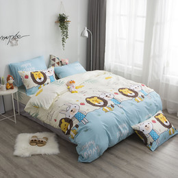 rabbit print duvet Australia - Dreamort 100%cotton Lions and Rabbits Cartoon Style 3or4pcs Twin Queen King size Bedding Set Bed sheet+Duvet cover+Pillowcase
