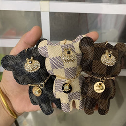 Wholesale bored women online – design Brand Design Bear Key Chains Ring Rhinestone Key Rings PU Leather Bear Car Keys Jewelry Bag Charm Animal Keychains Holder for Women Man