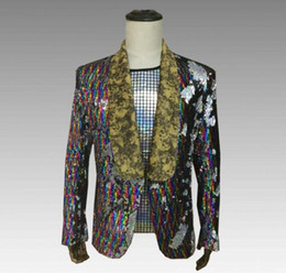 $enCountryForm.capitalKeyWord Australia - Spike Color gradient sequins blazer men suits designs jacket mens stage costumes for singers clothes dance star style dress punk rock 8782
