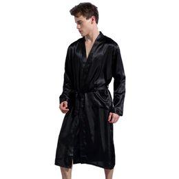 Chinese Long Kimono UK - Black Long Sleeve Chinese Men Rayon Robes Gown New Male Kimono Bathrobe Sleepwear Nightwear Pajamas S M L Xl Xxl Q190516