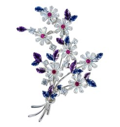 Colorful Brooch Bouquet NZ - Fashion Brooch for Men Women Flower Bouquet Colorful Blue Pins