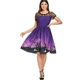 Wholesale pumpkin costume women online – ideas Sexy Halloween Party Costume Women Short Sleeve Retro Lace Patchwork Dress A Line Pumpkin Swing Dress Halloween