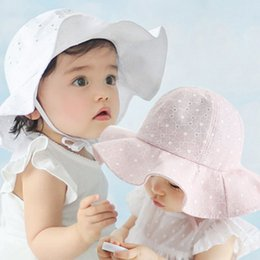 white crochet beret hat Canada - Infant Visor Cotton Sun Cap Floral Print Summer Outdoor Baby Girl Pink White Beach Bucket Hats New