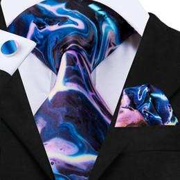 Purple Tie Sets For Men Australia - Hi-Tie New Novelty Blue and Purple Tie 8.5cm Ties 100% Silk Necktie for Men Hanky and Cufflinks Business Wedding Tie Set N-3093