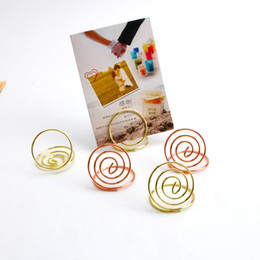 Wholesale Menu Holders Australia - Ring Shaped Card Holder Paper Clips Circle Stereo Table Number Holders Note Pad Menu Clips for Desk Party