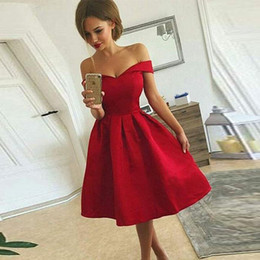 $enCountryForm.capitalKeyWord Australia - Off-the-shoulder Cap Sleeve Satin Red Short Prom Dresses Pleated Skirt Party Dress for Juniors Lace Up Back Knee Length Formal Dresses