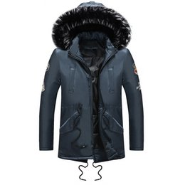 mens padding jacket long NZ - 2018 Winter Men Warm Down Jacket Fur Collar Cotton Padded Long Parkas Mens Casual Removable Hooded Thick Coat Outwear Plus Size