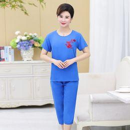 $enCountryForm.capitalKeyWord Australia - Summer Women Pajamas Suit 2019 Short Sleeve Pajamas Set Ankle-length Pants Mother Clothing Middle-aged plus size 3XL-4XL