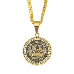 $enCountryForm.capitalKeyWord Australia - Hiphop FreeMason Eye of Horus Pendant Necklaces Men Gold Plated Shield Pendants Hip-Hop Jewelry Cool Party Accessories
