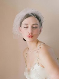 Three layer veils online shopping - 2019 White Bridal Birdcage Wedding Veil Layers Short Blusher Beads With Comb Cut Edge Party Bride Veil Elegant Tulle