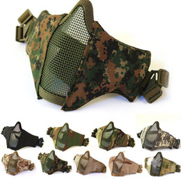 Protective Masks Australia - Tactical Mesh Airsoft mask Shooting games mask Camo Half Face Protective Lower Adult Breathable