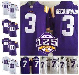 NCAA LSU Tigers 3 Odell Beckham Jr. 7 Leonard Fournette Tyrann Mathieu  Patrick Peterson 5 Derrius Guice 125th College Football Jerseys b6115f1e0