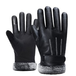 Leather Gloves For Men Australia - 2018 Winter Men PU Leather Short Thicked Black Touch Screen Gloves Man Outdoor Car Driving Mittens Men Waterproof Gloves For Ski