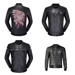 leather hip hop coat Australia - P3333 Fashion Bomber Jacket Winter Men Leather Jacket Hip Hop Men's Pilot Long Sleeve Skulls Leather Solid Motorcycle Male Jackets Coat