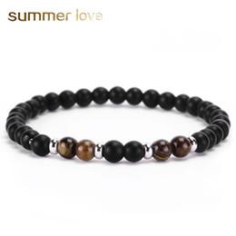 $enCountryForm.capitalKeyWord Australia - Handmade 6mm matte agate natural stone beads bracelet for women men elastic copper charm beading bracelet wholesale