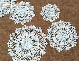 $enCountryForm.capitalKeyWord Australia - Round lace cotton table place mat pad Cloth crochet Handmade placemat cup mug wedding coffee coaster dining doily kitchen