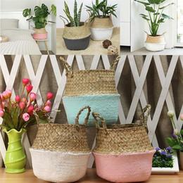 Bamboo Storage Baskets Foldable Laundry Straw Patchwork Wicker Rattan Seagrass Belly Garden Flower Pot Planter Handmade Basket on Sale