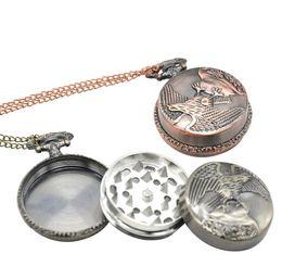 Metal Eagle Australia - Wholesale Metal Pocket Watch Eagle Smoke Breaker 3 Layer Smoke Grinder Pocket Watch Smoke Grinder