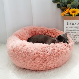 wood small houses Australia - Long Plush Dog Bed Hondenmand Fluffy Pet Bed For Small Large Dogs Puppy Dog Cat House Kennel Round Sleeping Bag Lounger Sofa Mat T200618