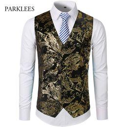 $enCountryForm.capitalKeyWord Australia - Gold Steampunk Vest Men Suit Gilet Homme Wedding Sleeveless Slim Fit Paisley Floral Dress Vests For Men Single Buttons Waistcoat MX190724