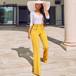 $enCountryForm.capitalKeyWord Australia - Formal Wide Leg Casual Pants Office Lady Work High Waist Elegant Trousers Moderns For Working Woman Flare Palazzo Yellow Busines Y19070101