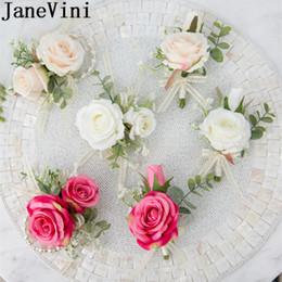 $enCountryForm.capitalKeyWord Australia - JaneVini Silk Rose Hand Flower Rose Red Boutonniere for Men White Champagne Groomsmen Wedding Corsage Boutonnieres Set Brooch